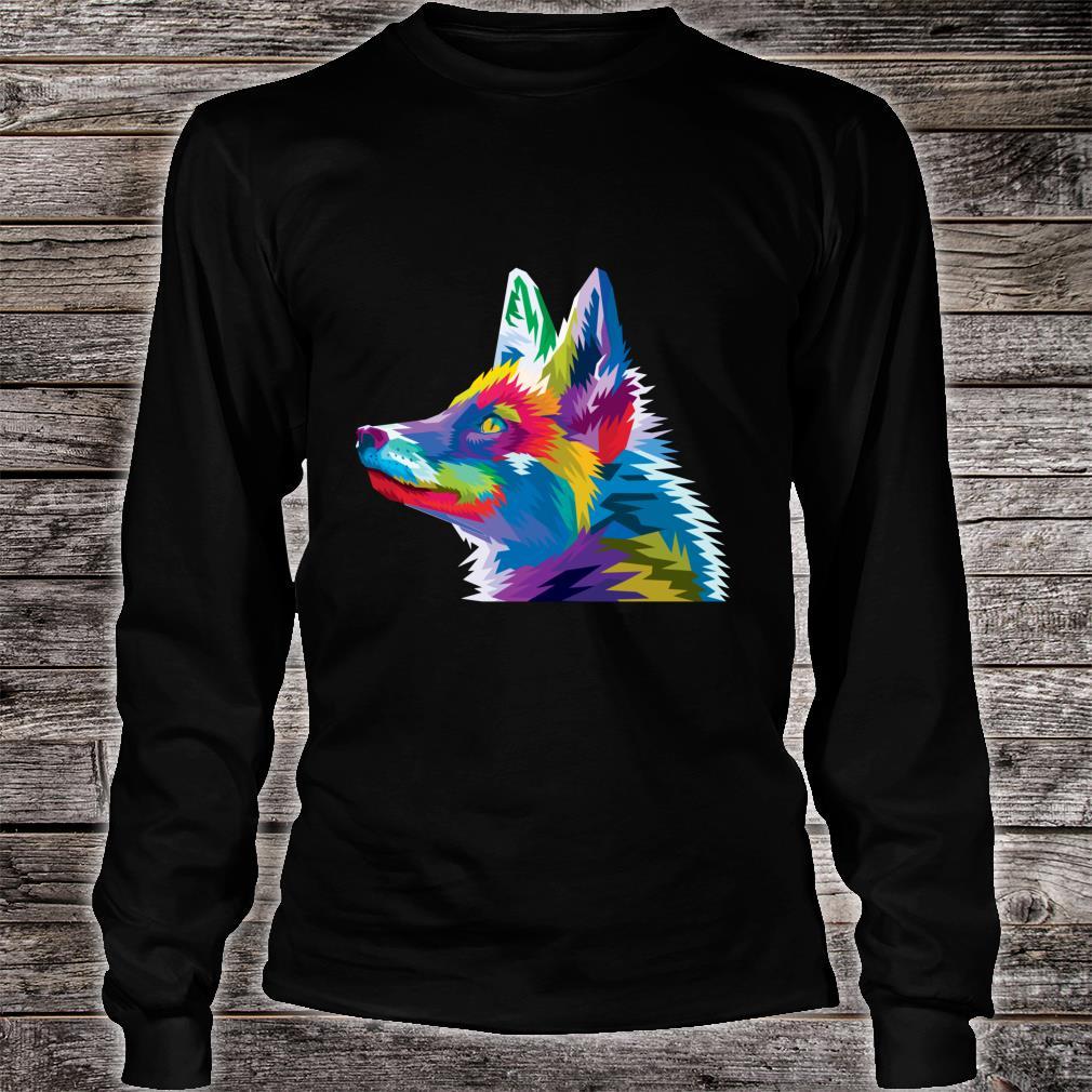 Colorful Fox Cute Geometric pop art style Idea Shirt long sleeved