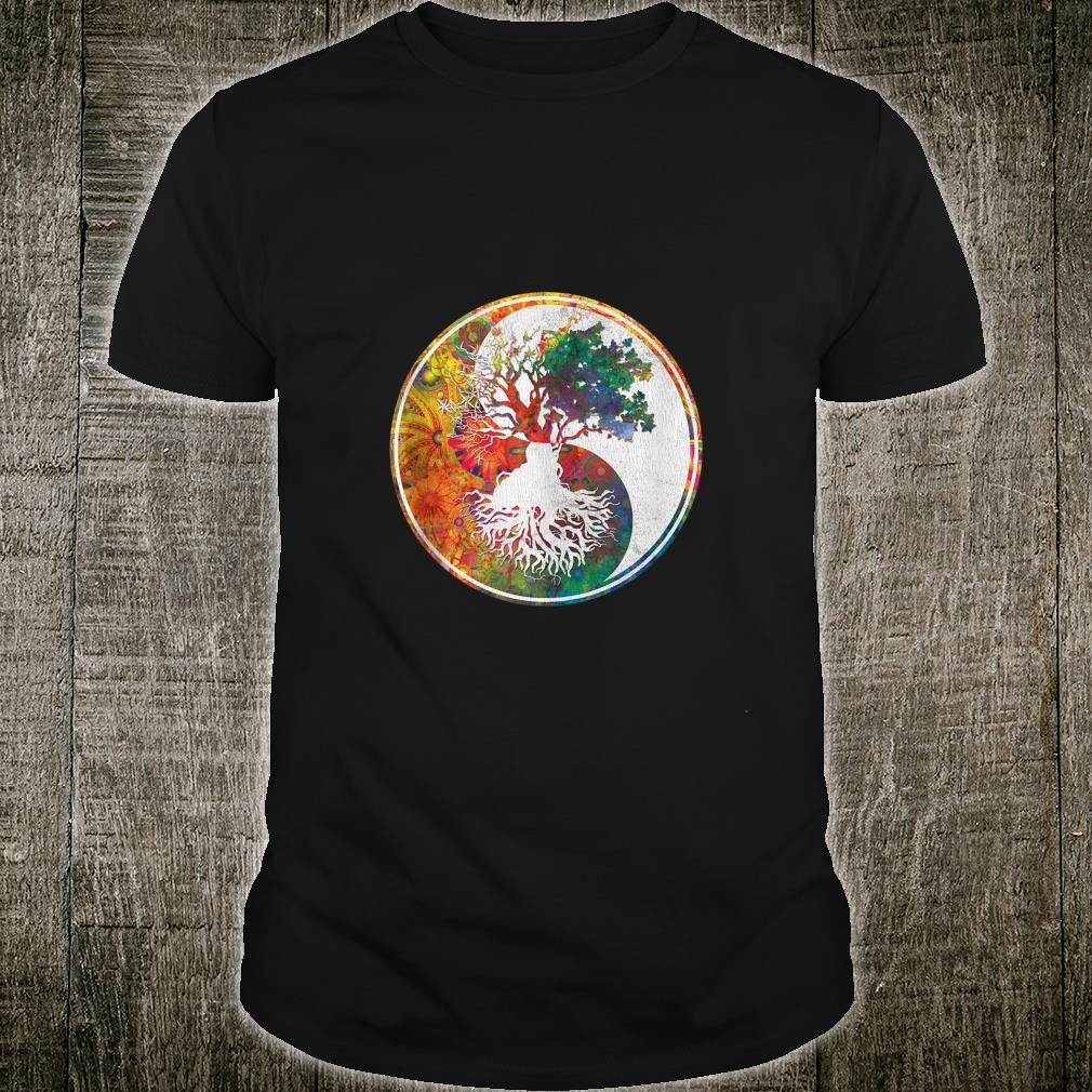 Colorful Fractal Tree of Life Vintage Tree Art Celtic Norse Shirt