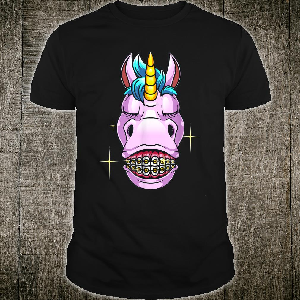 Cool Unicorn With Dental Braces Horn Horse Smile Shirt
