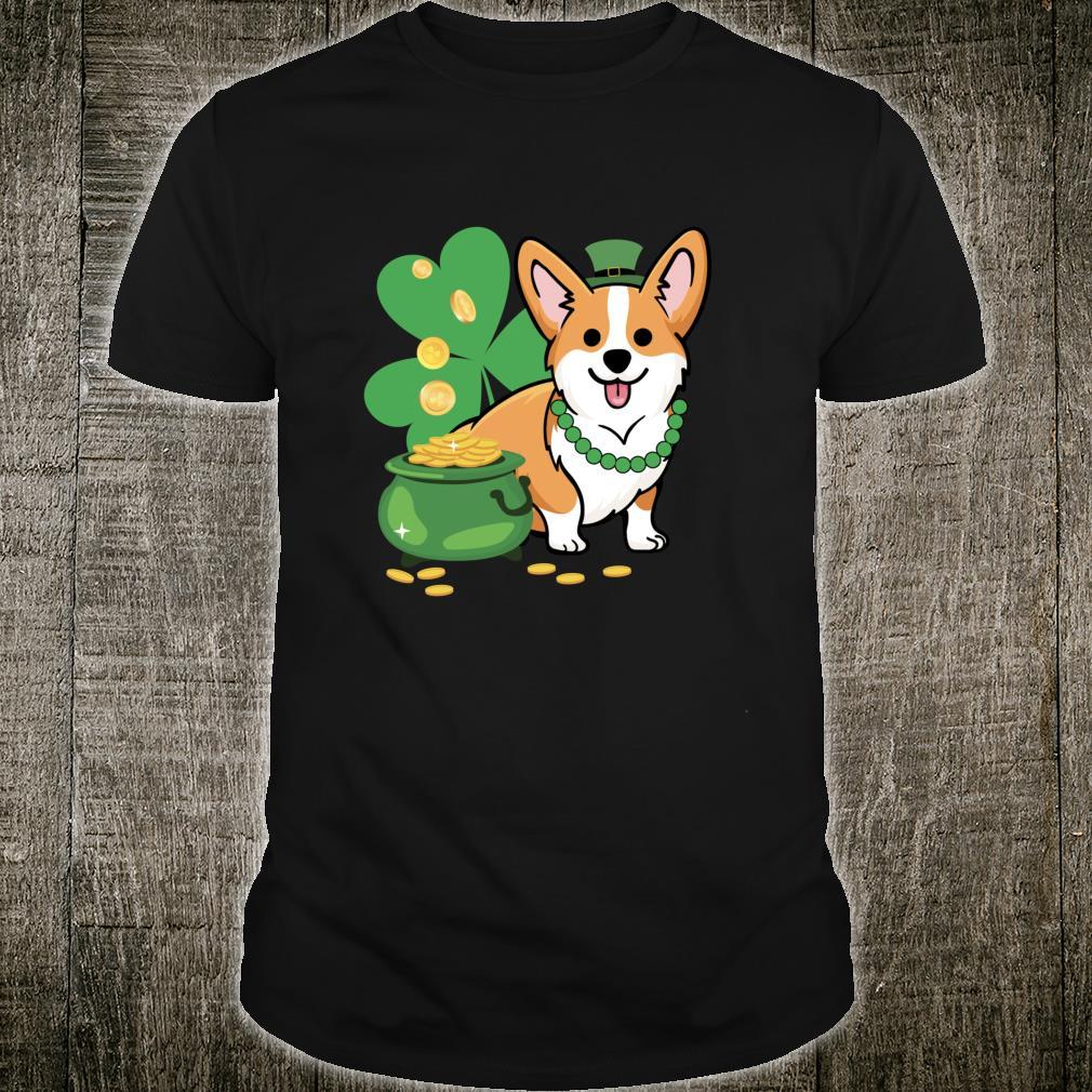 Corgi St Patricks Style with Shamrocks Shirt