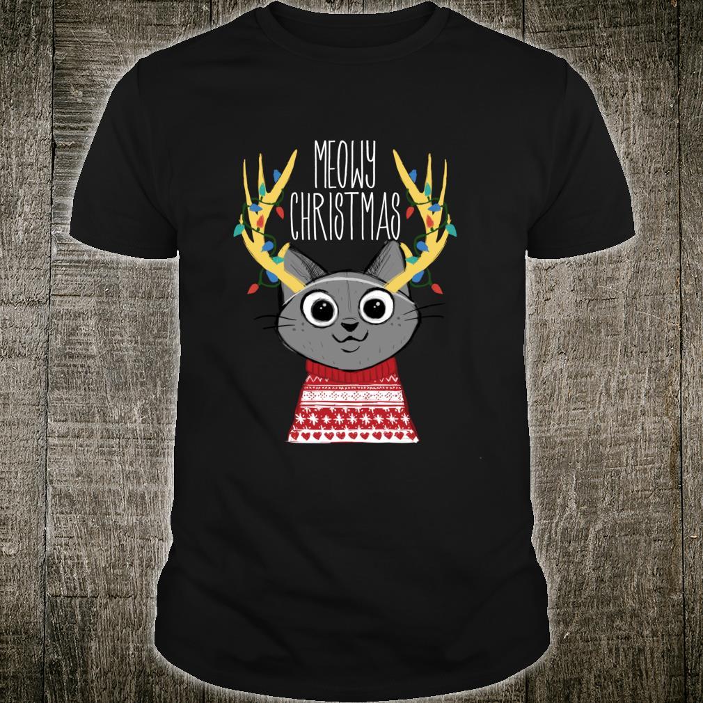 Cute Christmas Cat Reindeer Shirt