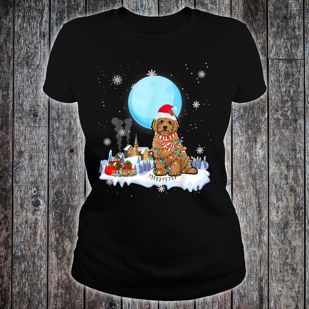 Cute Christmas Led Light Goldendoodle Dog Shirt ladies tee