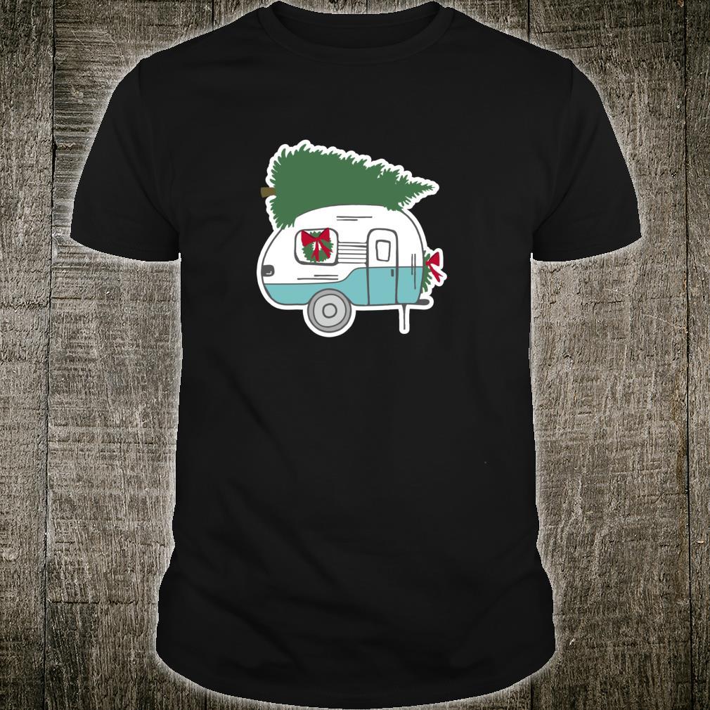 Cute Christmas Vintage Camper Design Christmas Tree Trailer Shirt