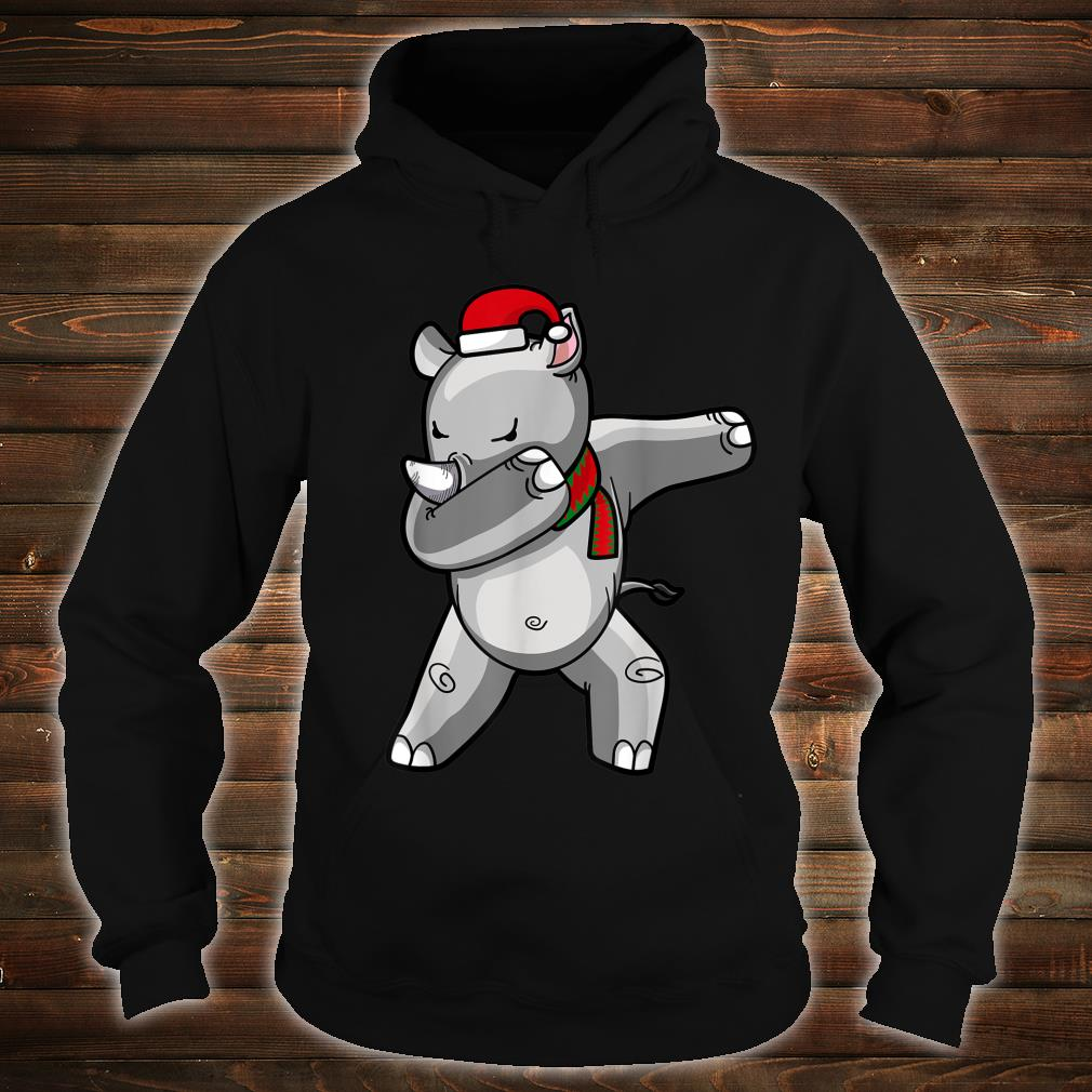 Dabbing Rhino Christmas Santa Hat Scarf Dab Shirt hoodie