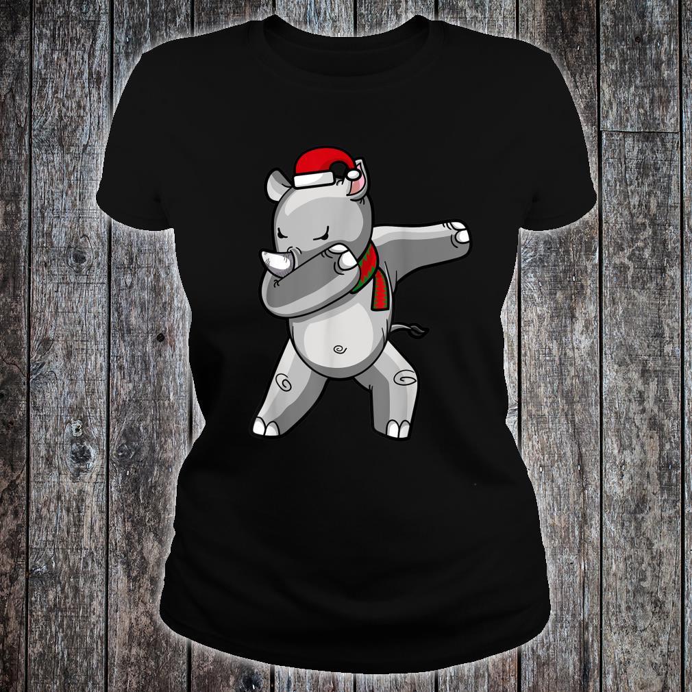 Dabbing Rhino Christmas Santa Hat Scarf Dab Shirt ladies tee