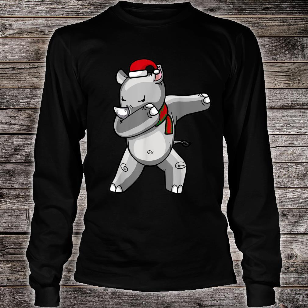Dabbing Rhino Christmas Santa Hat Scarf Dab Shirt long sleeved