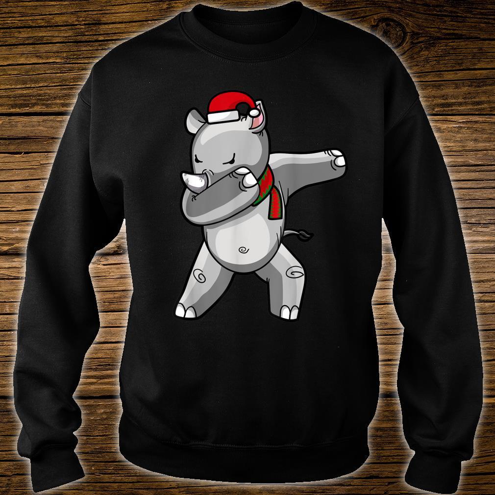 Dabbing Rhino Christmas Santa Hat Scarf Dab Shirt sweater