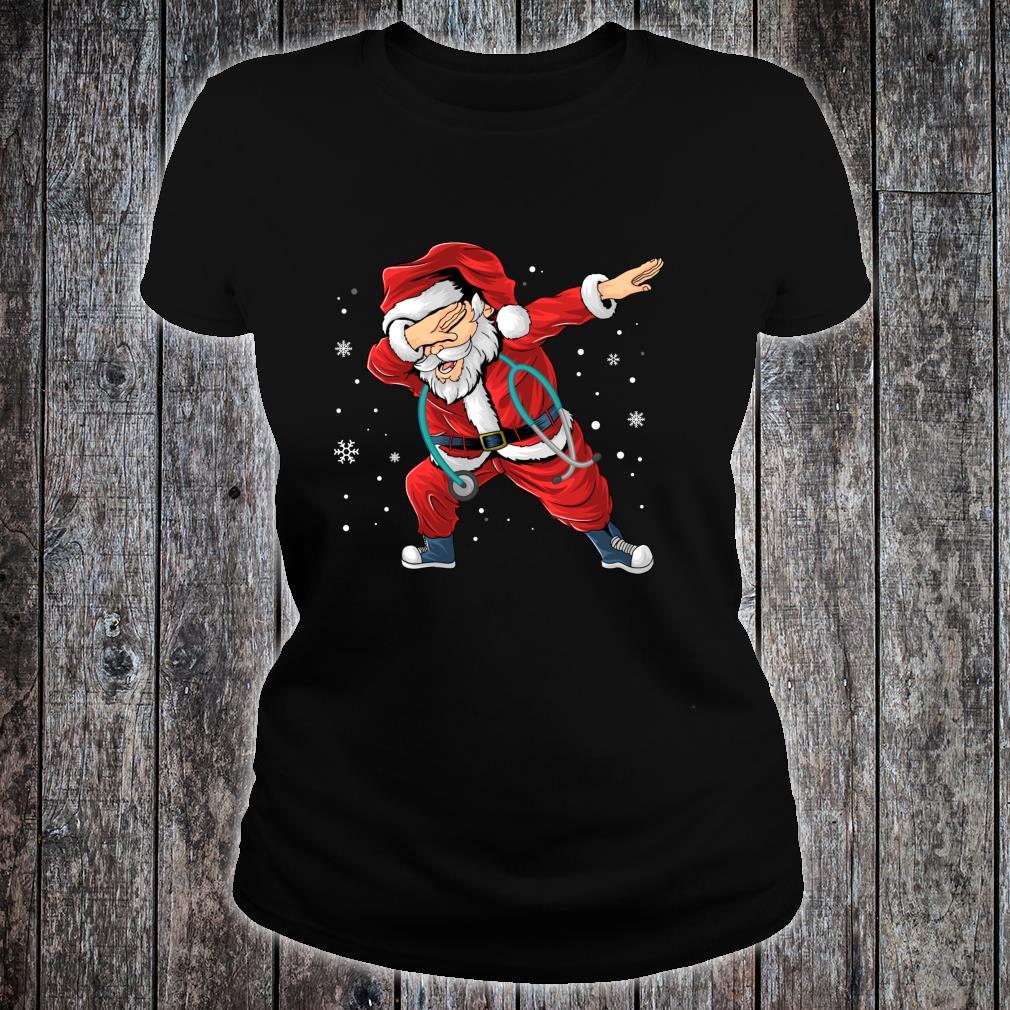 Dabbing Santa Nurse Stethoscope Christmas Pajama Nursing Shirt ladies tee