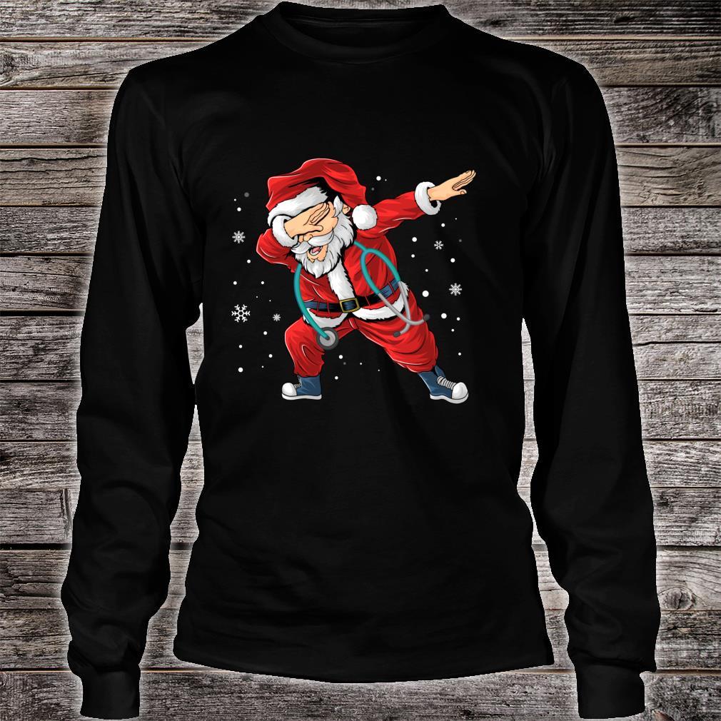 Dabbing Santa Nurse Stethoscope Christmas Pajama Nursing Shirt long sleeved