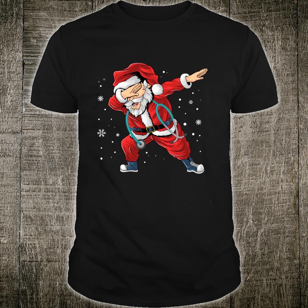 Dabbing Santa Nurse Stethoscope Christmas Pajama Nursing Shirt
