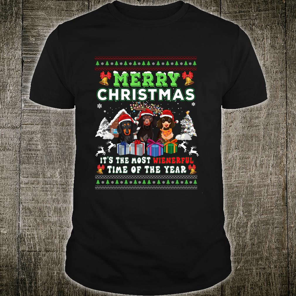 Dachshund Ugly Christmas Dog Shirt Most Weinerful TIme Shirt