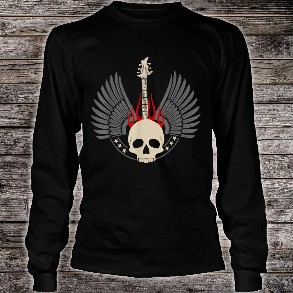 Design with acoustic and skeleton electric guitar Shirt long sleeved