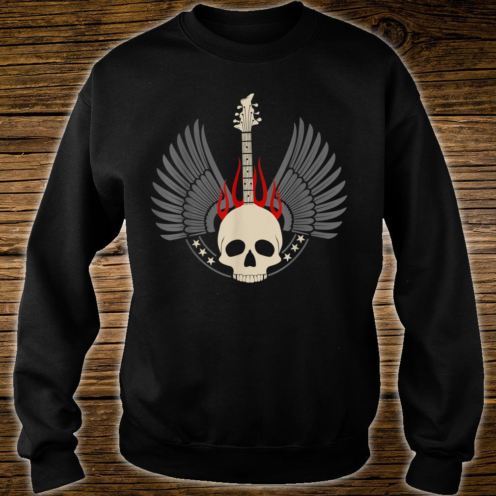 Design with acoustic and skeleton electric guitar Shirt sweater