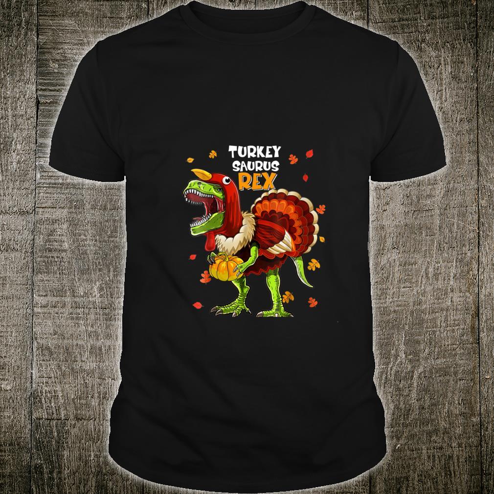 Dinosaur Turkey Pumpkin Thanksgiving Boys Shirt