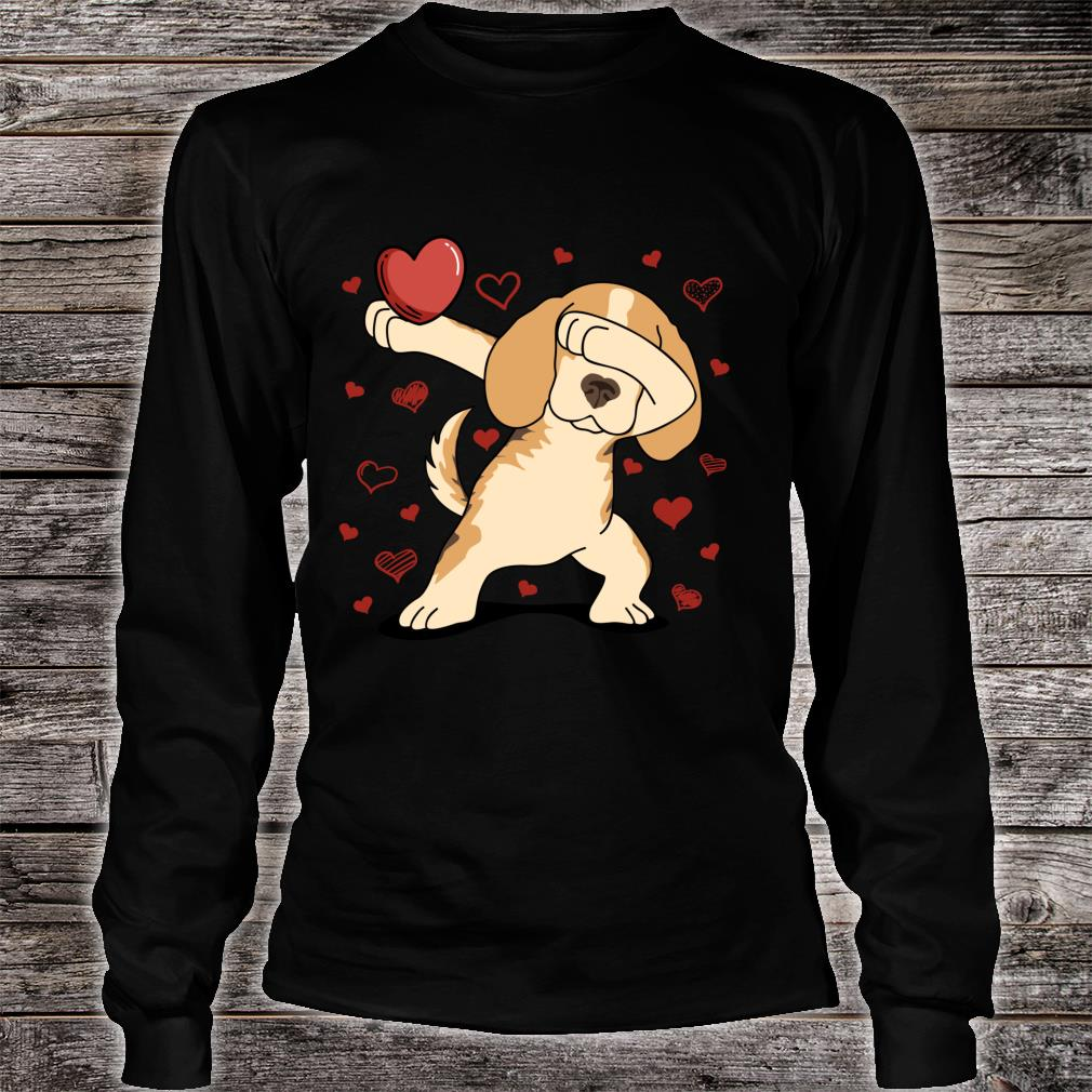 Dog Dabbing Heart For Valentine's Day Arts Shirt long sleeved