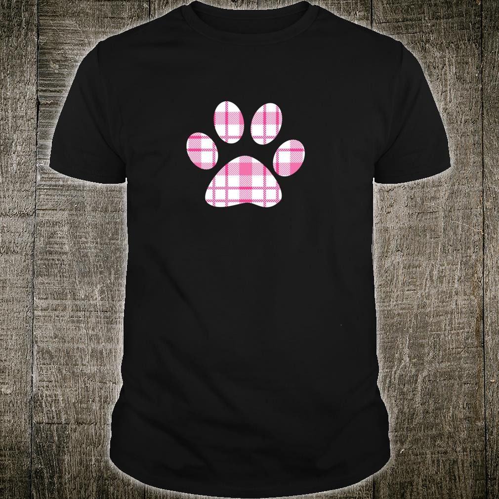 Dog Paw Print White Pink Beach Plaid Tartan Spring Trendy Shirt