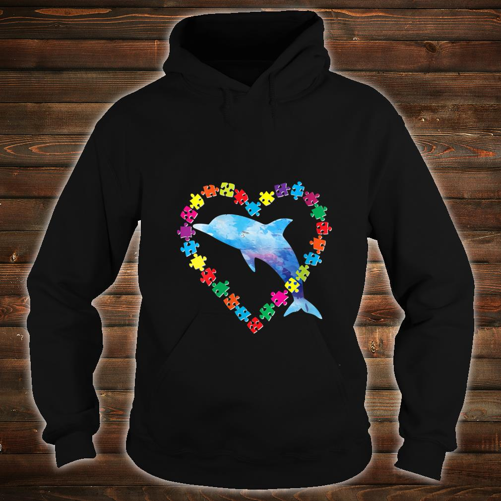 Dolphin Autism Awareness Love Strong Puzzle Pieces Autistic Shirt hoodie