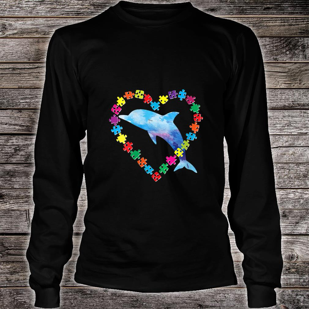 Dolphin Autism Awareness Love Strong Puzzle Pieces Autistic Shirt long sleeved