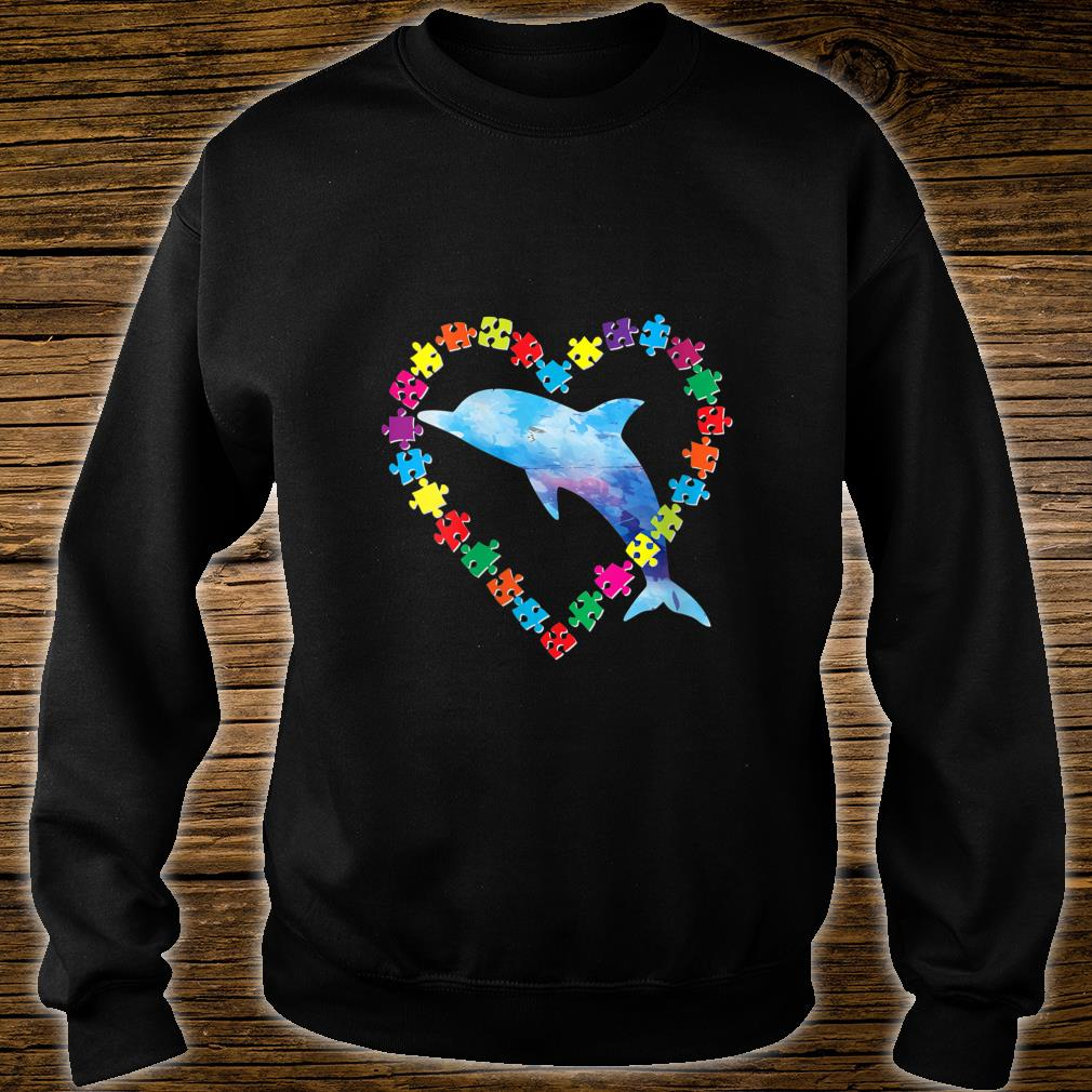 Dolphin Autism Awareness Love Strong Puzzle Pieces Autistic Shirt sweater