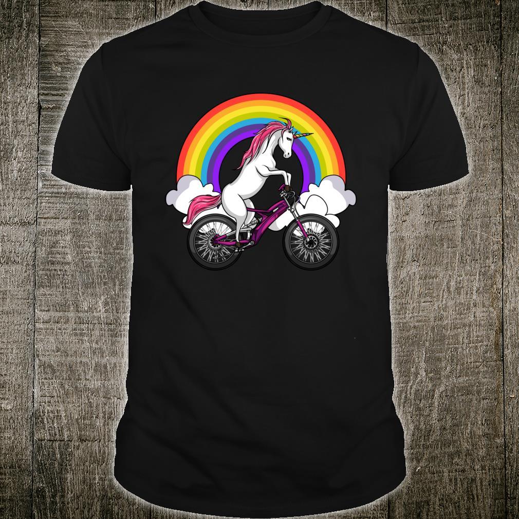Einhorn Reitet Auf Fahrrad Regenbogen Kinder Jungen Mädchen Shirt