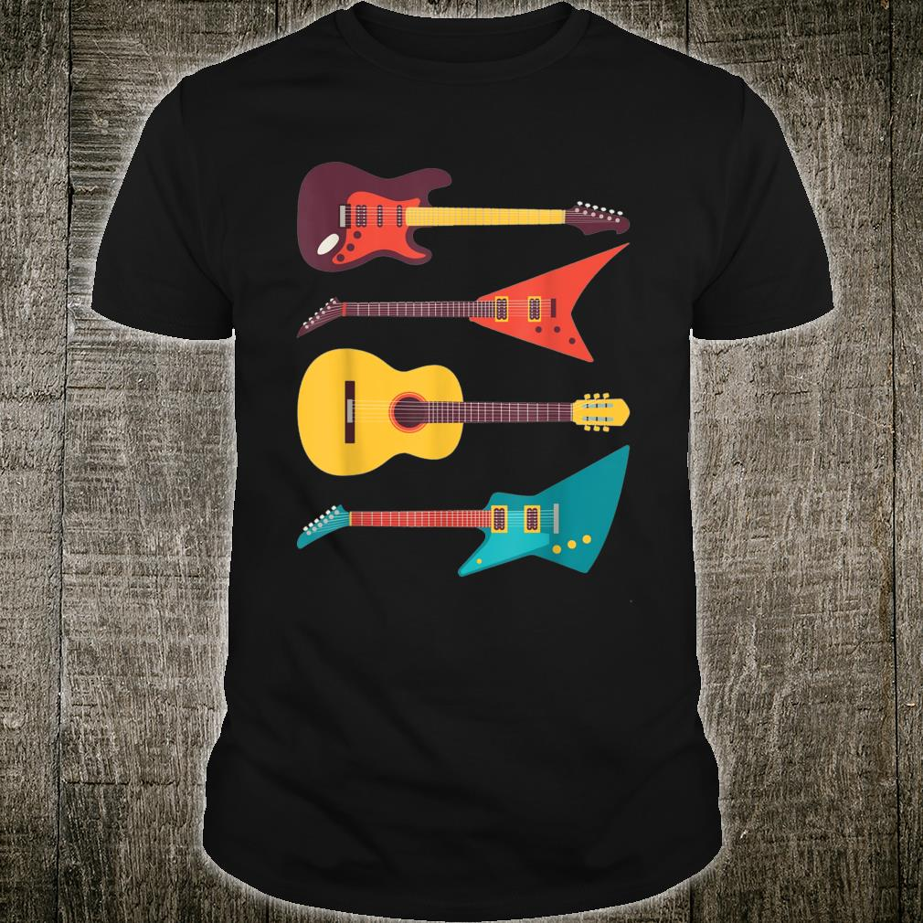 Electric Guitar and Acoustic Guitar Vintage Musician Shirt