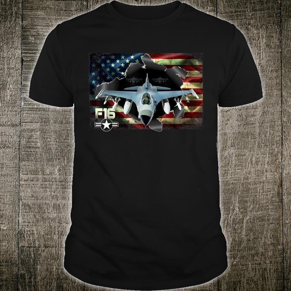 F16 Fighting Air Force Military Veteran Pride US FlagUSAF Shirt