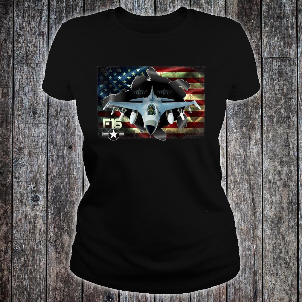 F16 Fighting Air Force Military Veteran Pride US FlagUSAF Shirt ladies tee