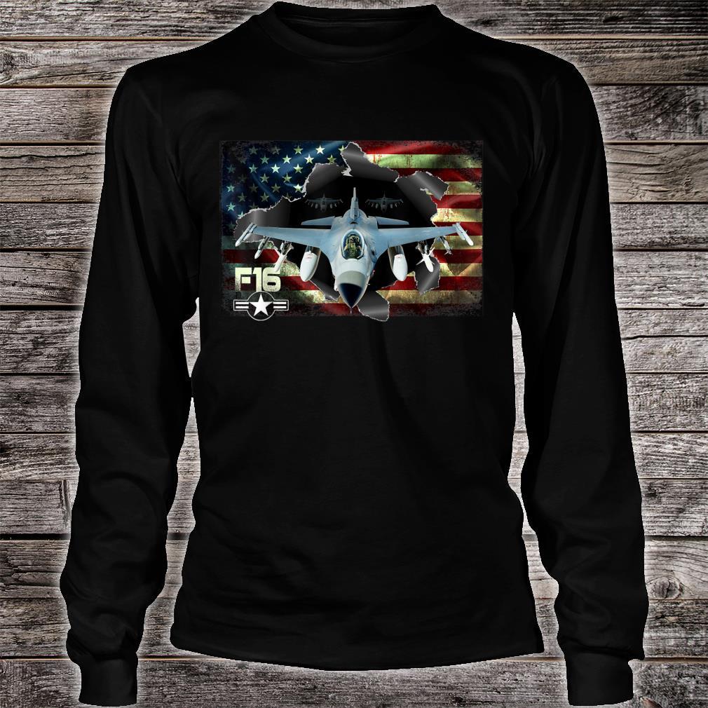 F16 Fighting Air Force Military Veteran Pride US FlagUSAF Shirt long sleeved