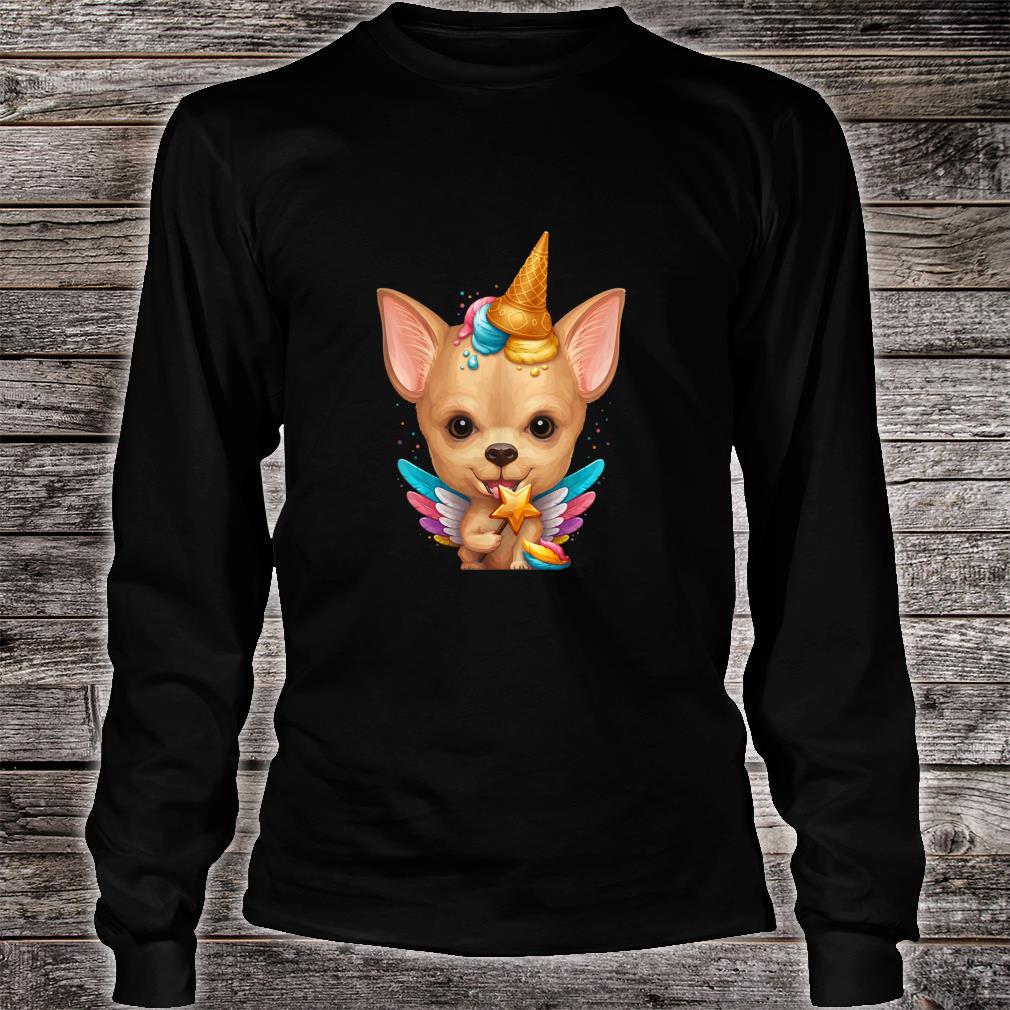 Fawn Smooth Coat Chihuahua Ice Cream Unicorn Shirt long sleeved
