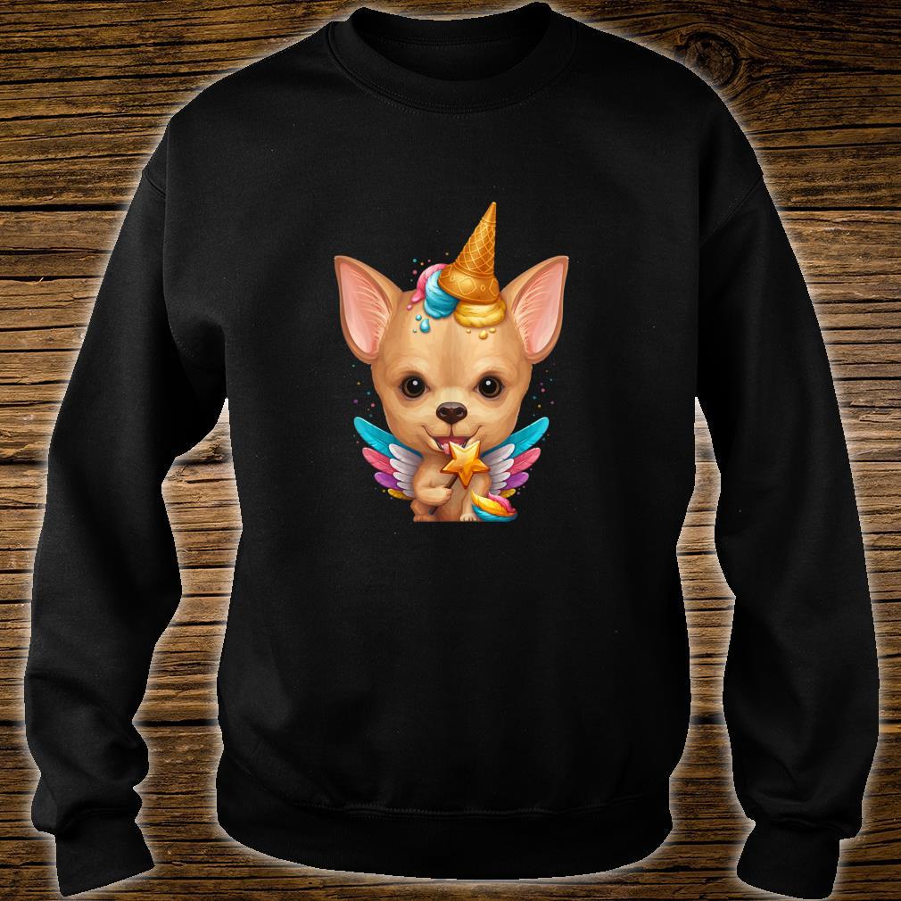 Fawn Smooth Coat Chihuahua Ice Cream Unicorn Shirt sweater
