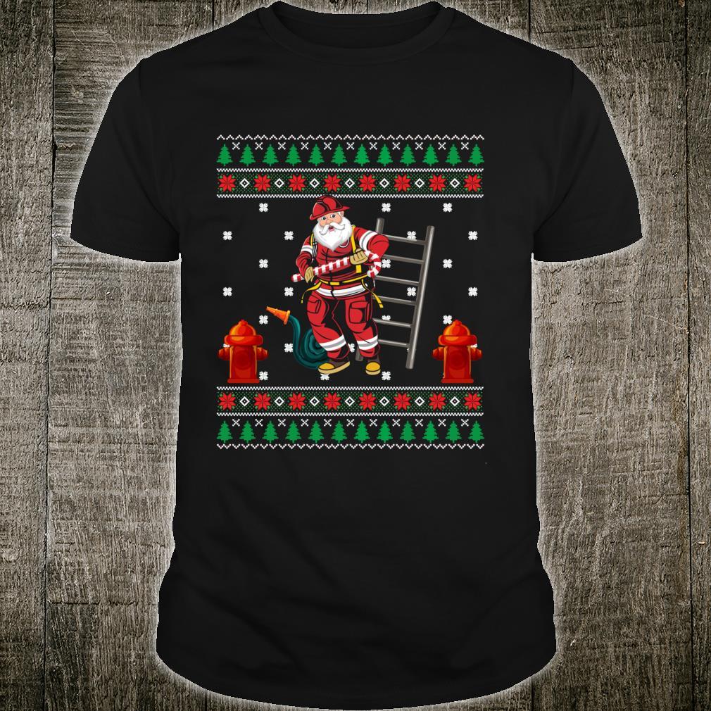 Firefighter Ugly Christmas Xmas Boys Girls Shirt