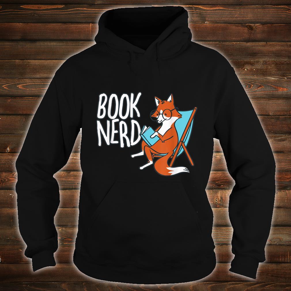 Fox Book Reading Retro Nerd Librarian Boys Girls Shirt hoodie