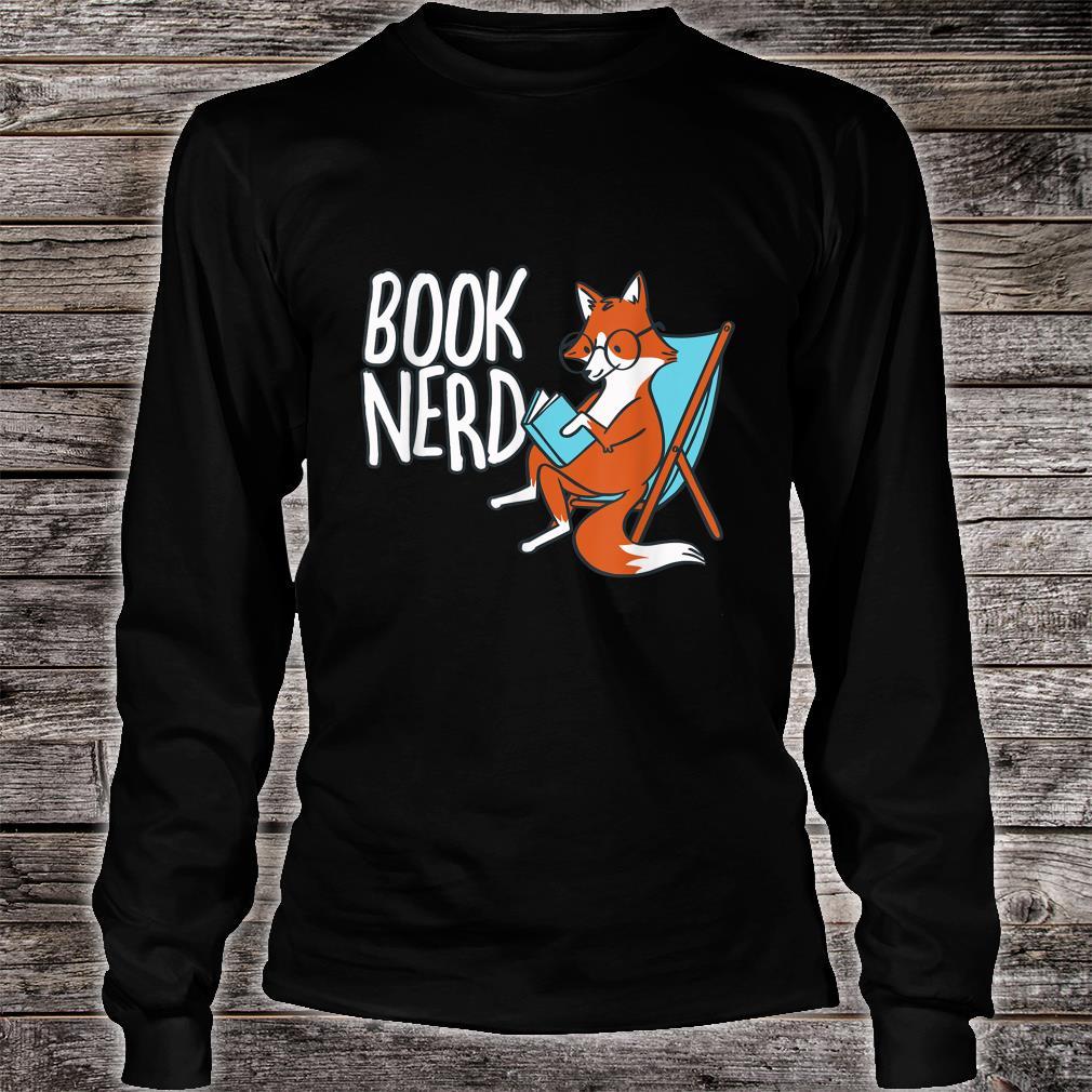 Fox Book Reading Retro Nerd Librarian Boys Girls Shirt long sleeved