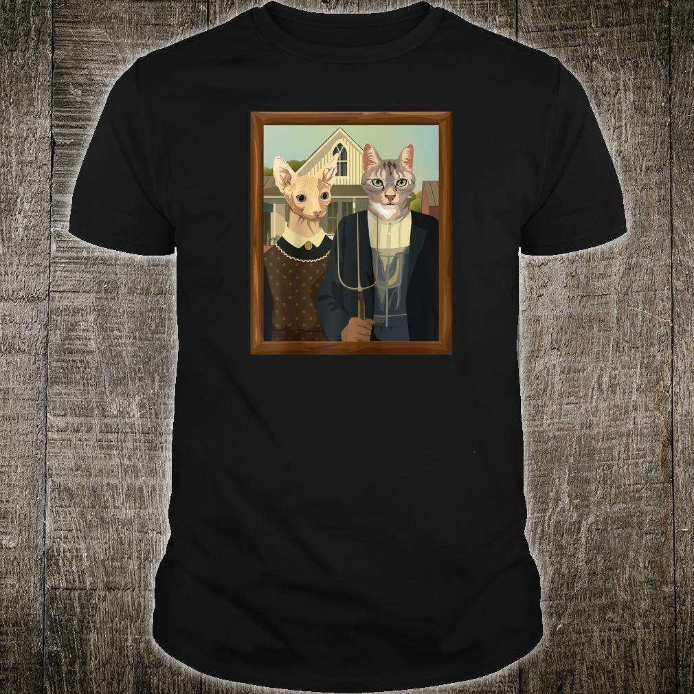 Funny A Meowican Gothic American Gothic Cat Parody Shirt