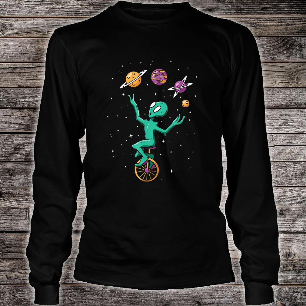 Funny Alien Juggler Recreation Entertainment Martian Circus Shirt long sleeved