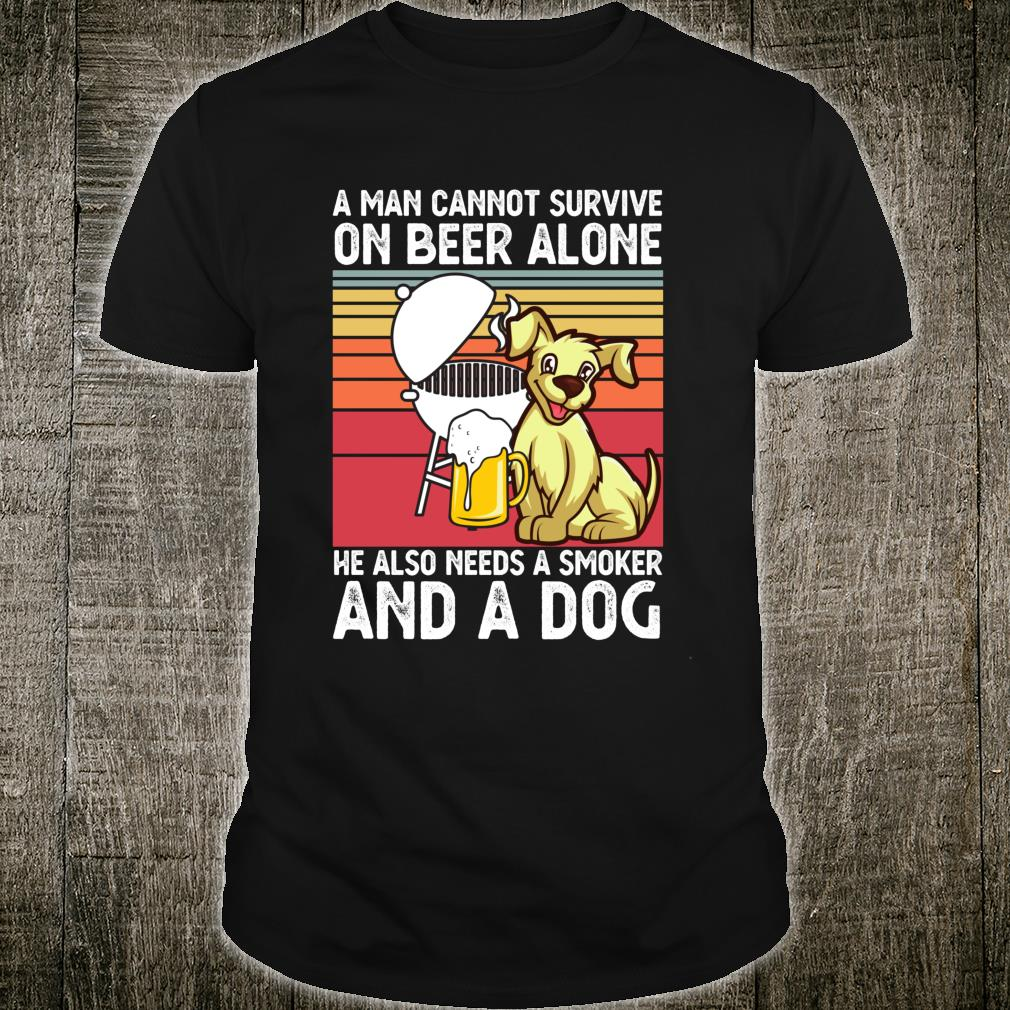Funny Beer Drinking BBQ Grill Smoker Dog Barbecue Shirt