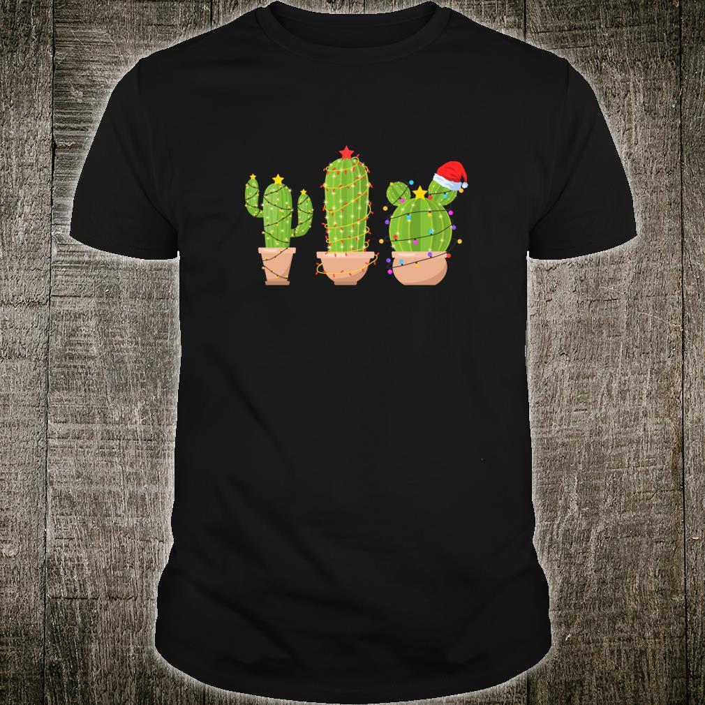 Funny Cactus Cacti Trendy Christmas Lights Shirt