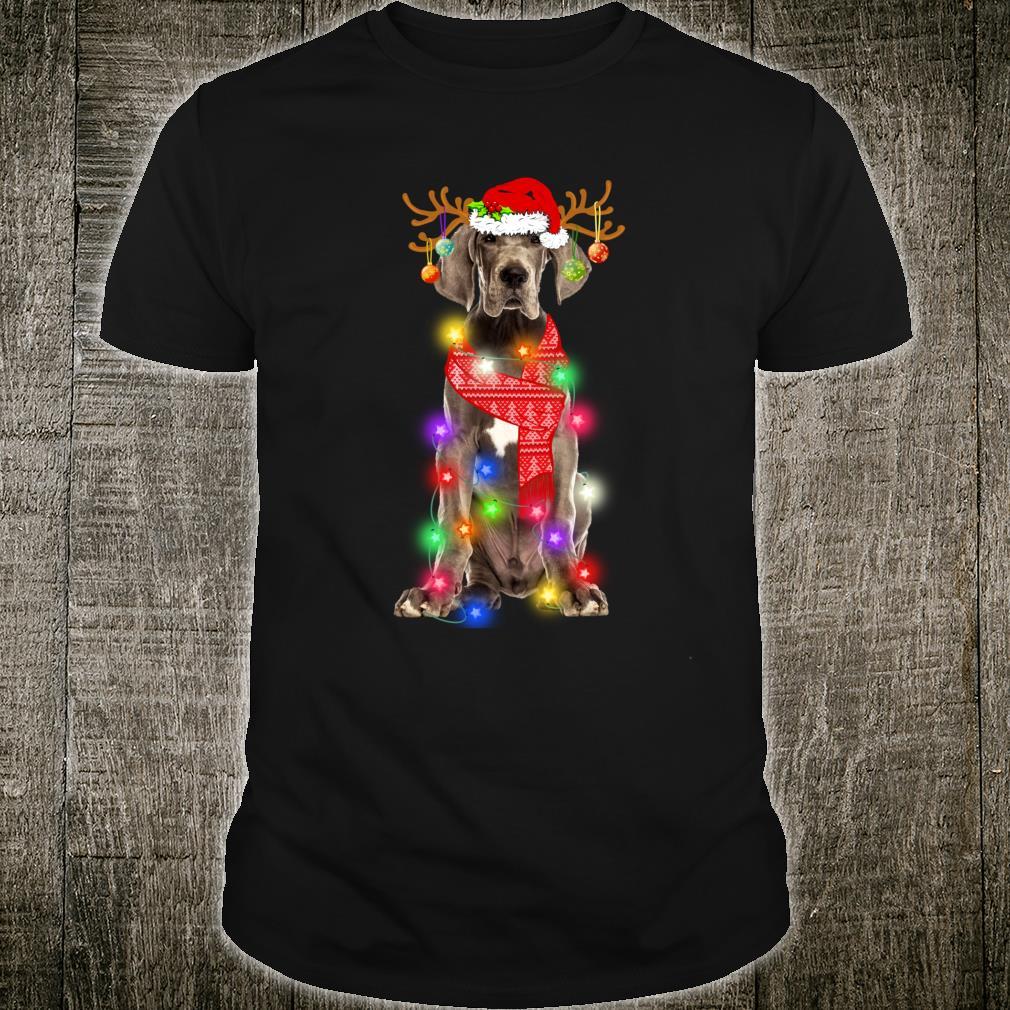 Funny Dane Santa Hat Xmas Lights Dog Shirt
