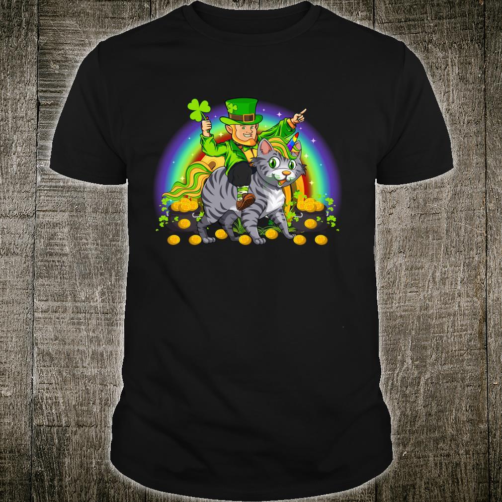 Funny Leprechaun Riding kitty Cat St. Patrick's Day Shirt