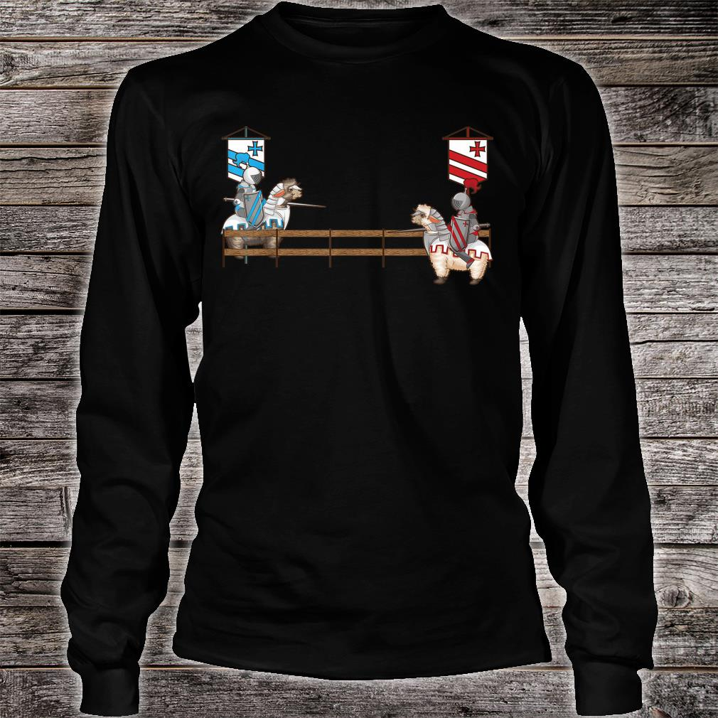 Funny Llama Jousting Cool Medieval Knight Alpaca Fan Shirt long sleeved