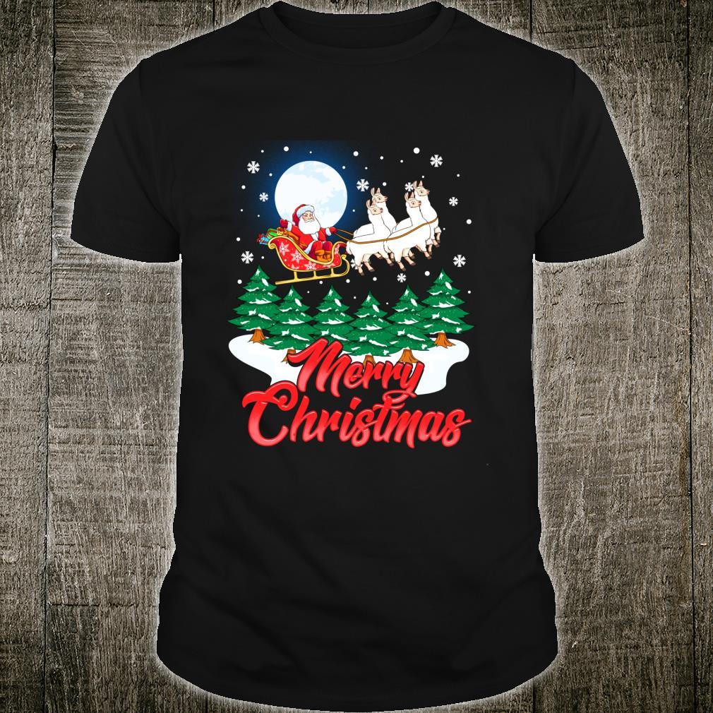 Funny Llama Santa Merry Christmas Xmas Alpaca Shirt
