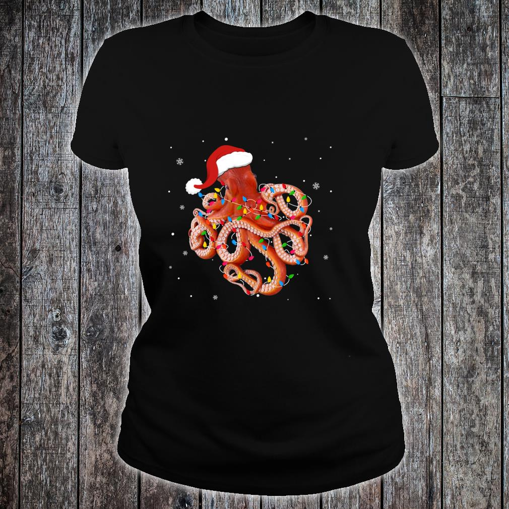 Funny Octopus Christmas Light Apparel Cute Xmas Idea Shirt ladies tee