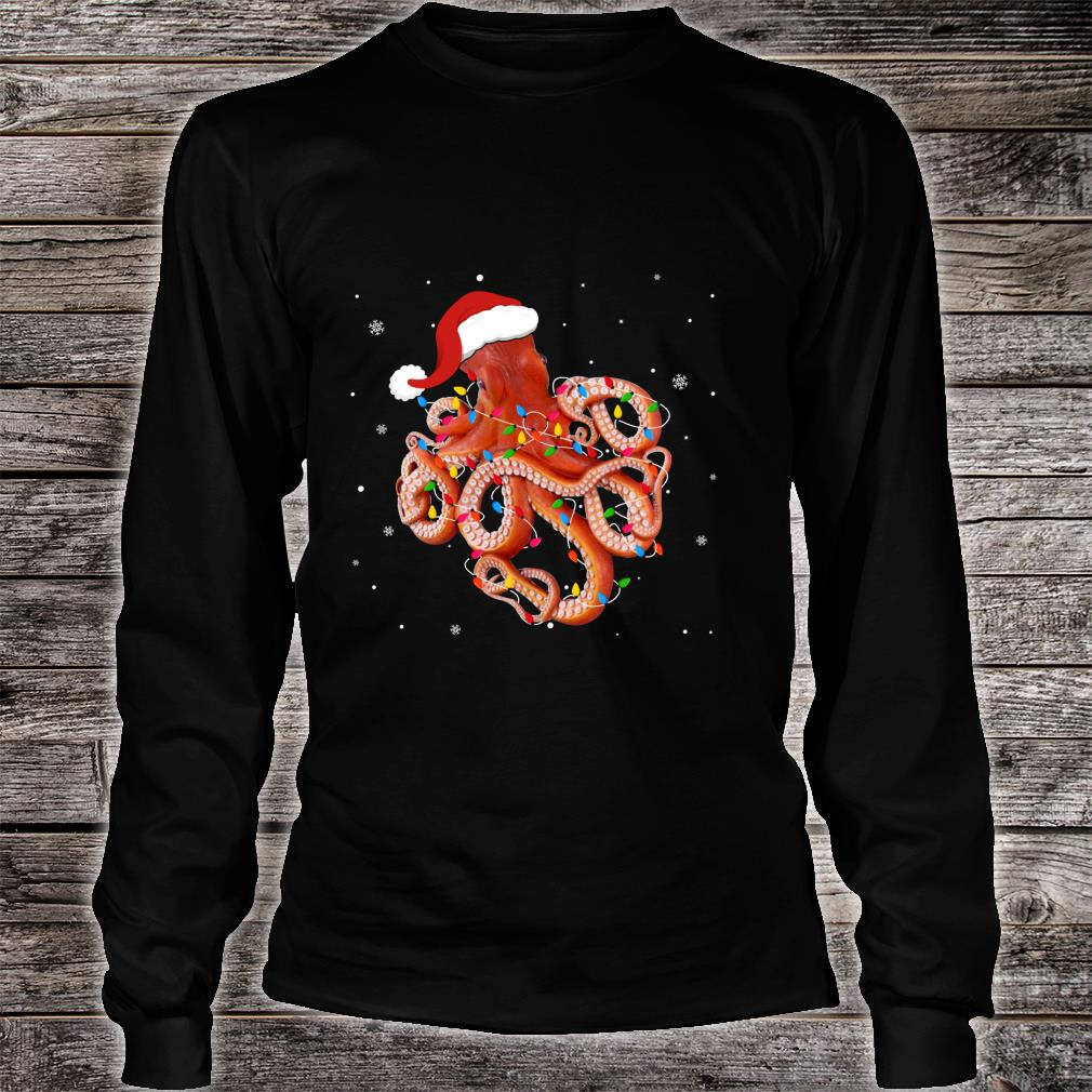 Funny Octopus Christmas Light Apparel Cute Xmas Idea Shirt long sleeved