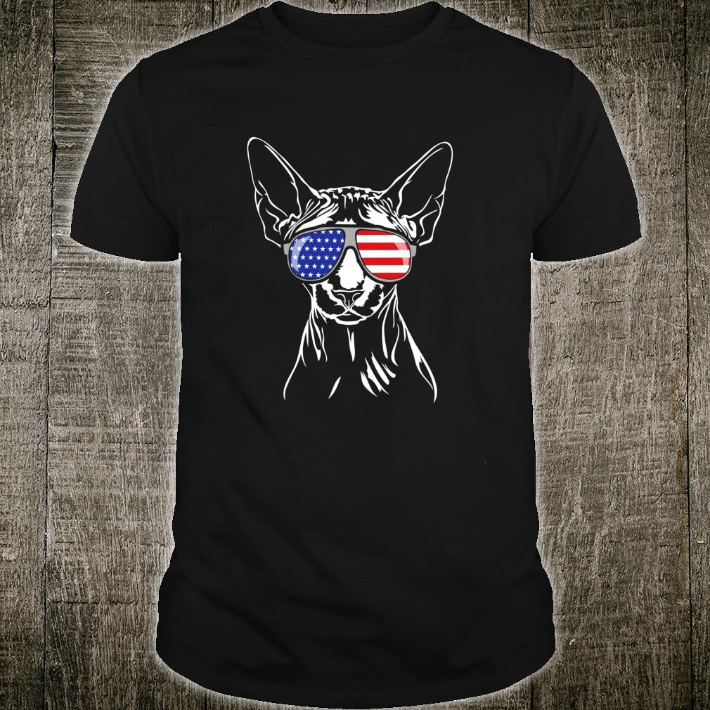 Funny Proud Sphynx American Flag sunglasses cat Shirt