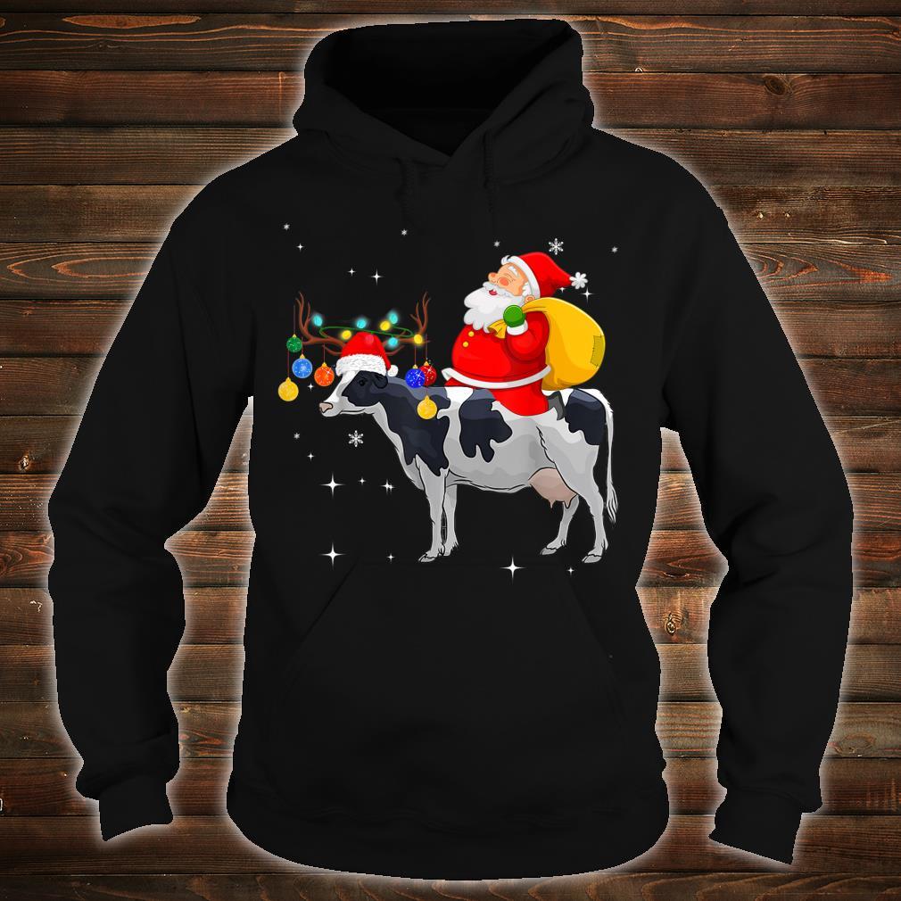 Funny Santa Claus Riding Cow Christmas Shirt hoodie
