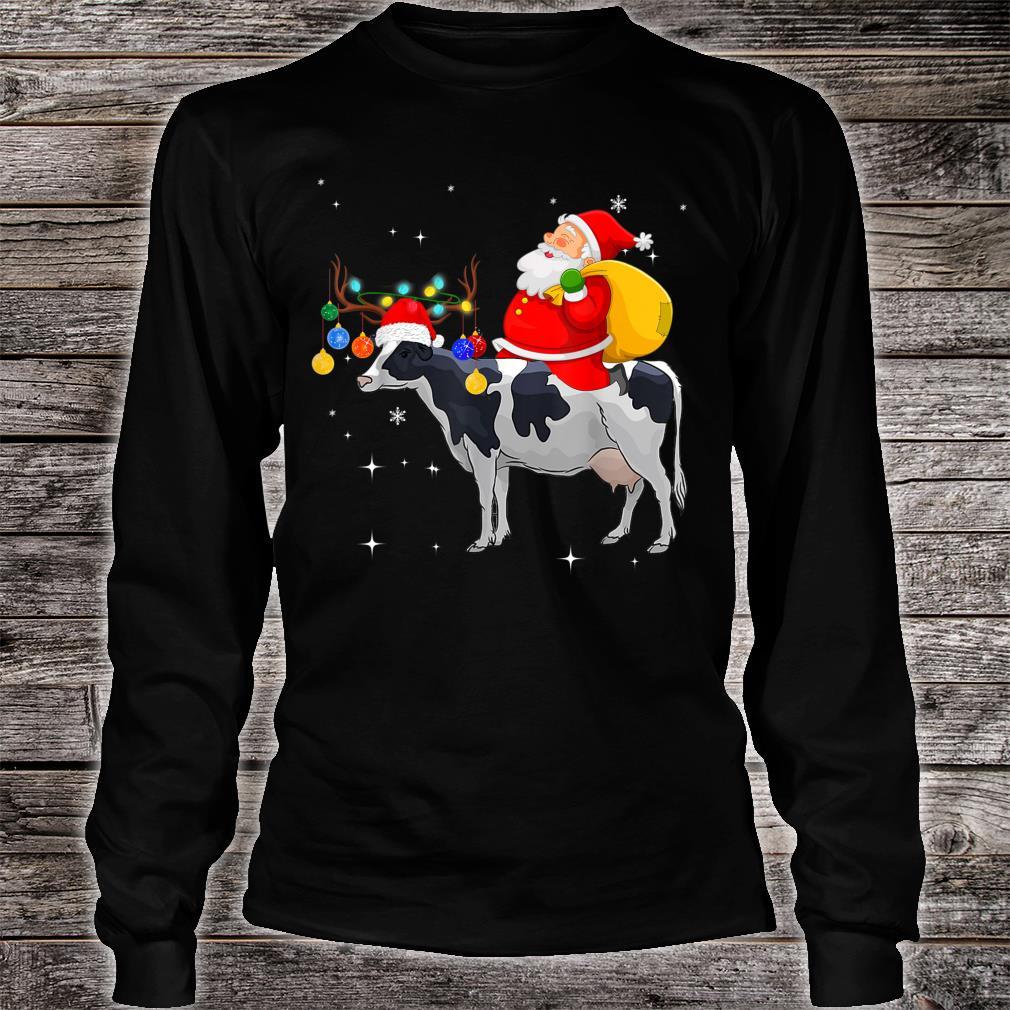 Funny Santa Claus Riding Cow Christmas Shirt long sleeved