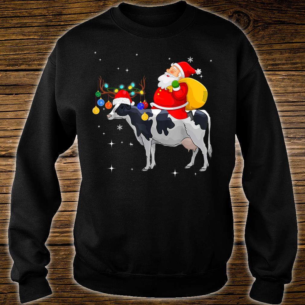 Funny Santa Claus Riding Cow Christmas Shirt sweater