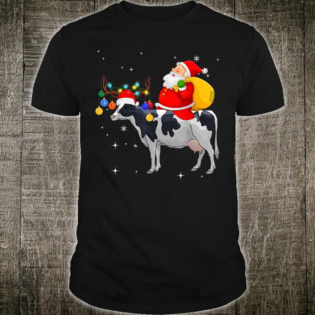 Funny Santa Claus Riding Cow Christmas Shirt