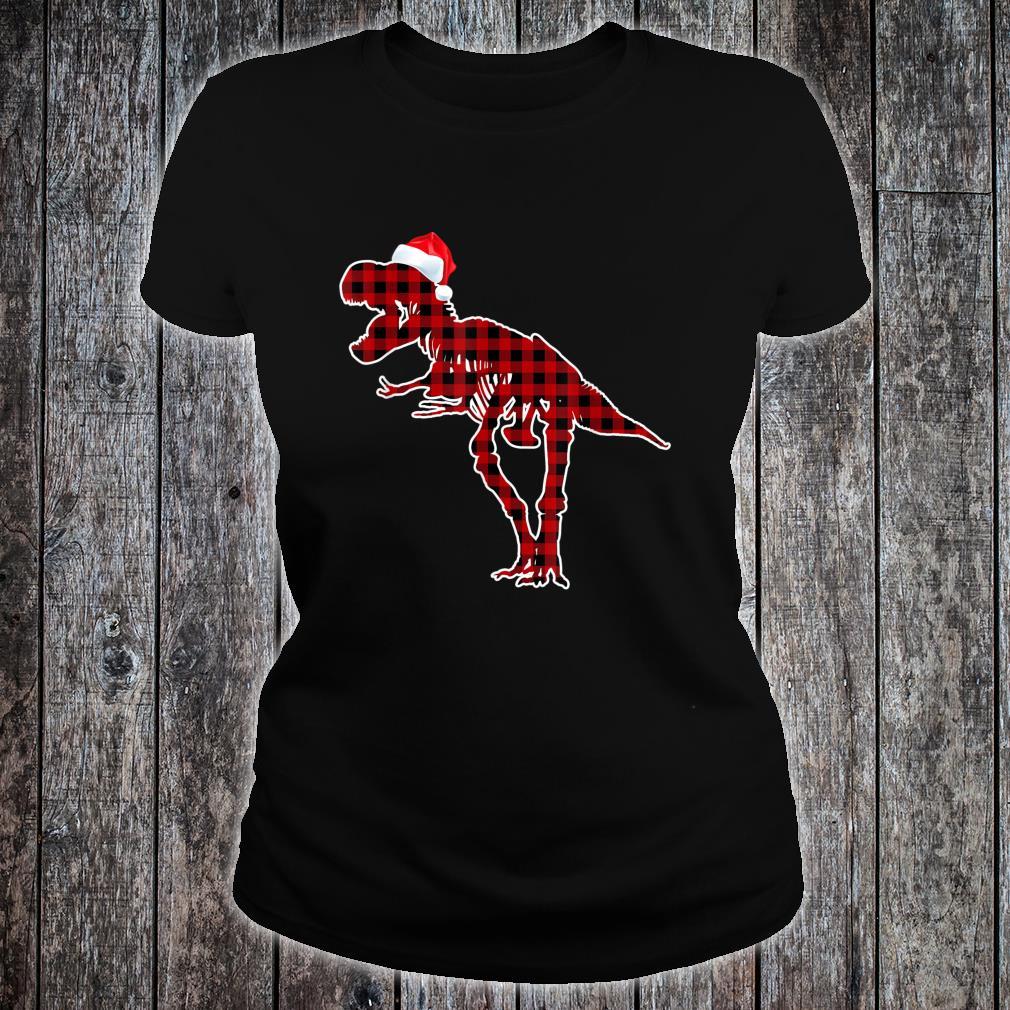 Funny Skeleton Dinosaur Christmas Pajamas T Rex Xmas Shirt ladies tee
