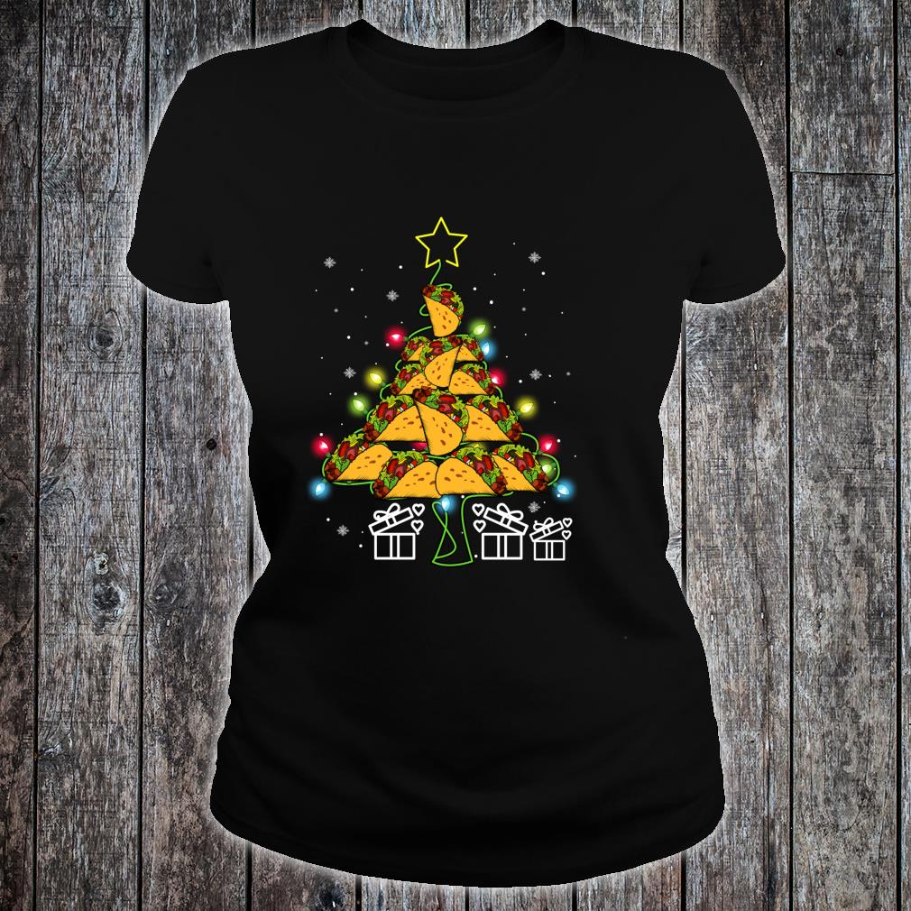 Funny Tacos Christmas Tree Lights Ugly Christmas Shirt ladies tee